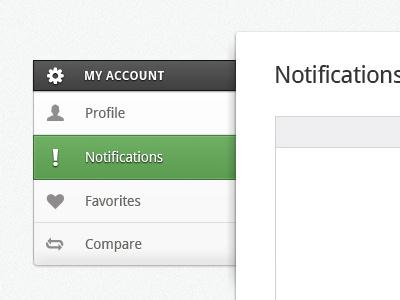 Nav, Nav, Nav sidebar nav green profile notifications favorites compare