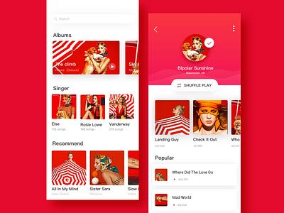 Music app design ui