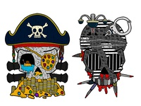 Pirate and Prison skulls