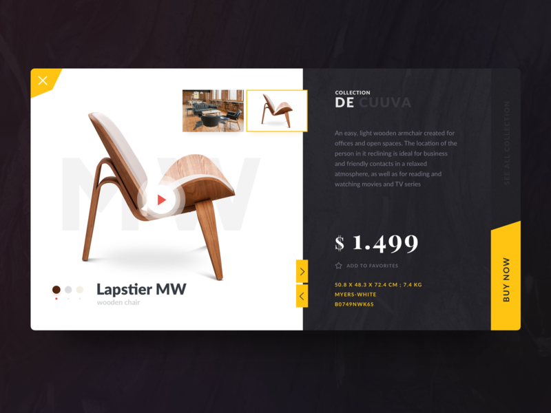 Wooden chair shopping card concept design typography inspiration site concept website ux ui sketch