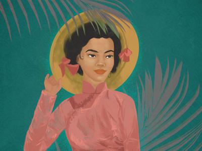 Vietnam painting digital painting digital art illustration traditional tradition southeast asian asian jungle green pink girl woman