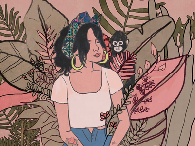 unapologetically woman digital painting painting digital art illustration frida kahlo plants jungle pink woman girl