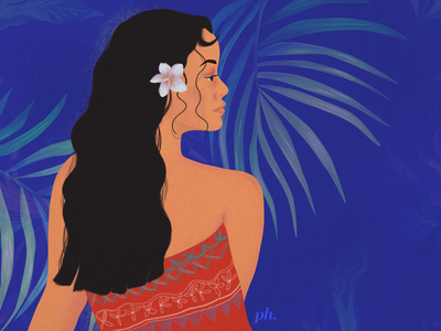 blue lagoon painting digital painting digital art illustration palm jungle tropical blue girl