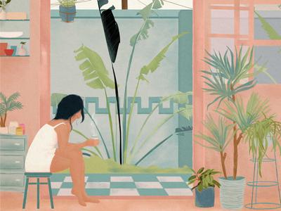 this summer digital art digital painting illustration interior plants tropical girl blue pink