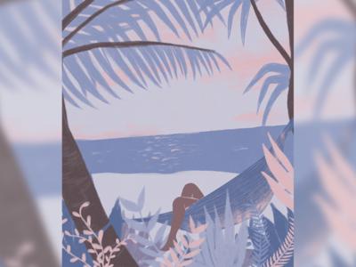 Hometown purple photoshop jungle digital illustration tropical woman design plants digital art pink blue digital painting girl illustration