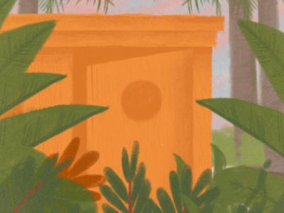 Getaway jungle palm tree orange green plants illustration art design