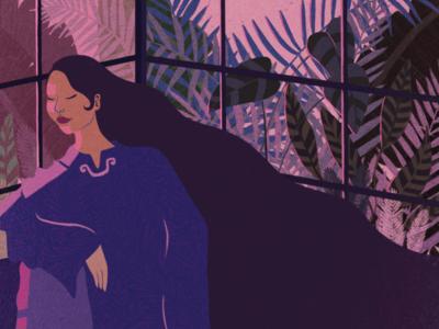 Epiphany purple pink shadow light identity vietnamese plants illustration digital art tropical woman girl