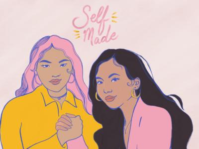 Self-made type typography pink blue yellow independent self made art female women female empowerment women empowerment adobe digital painting digital art illustration
