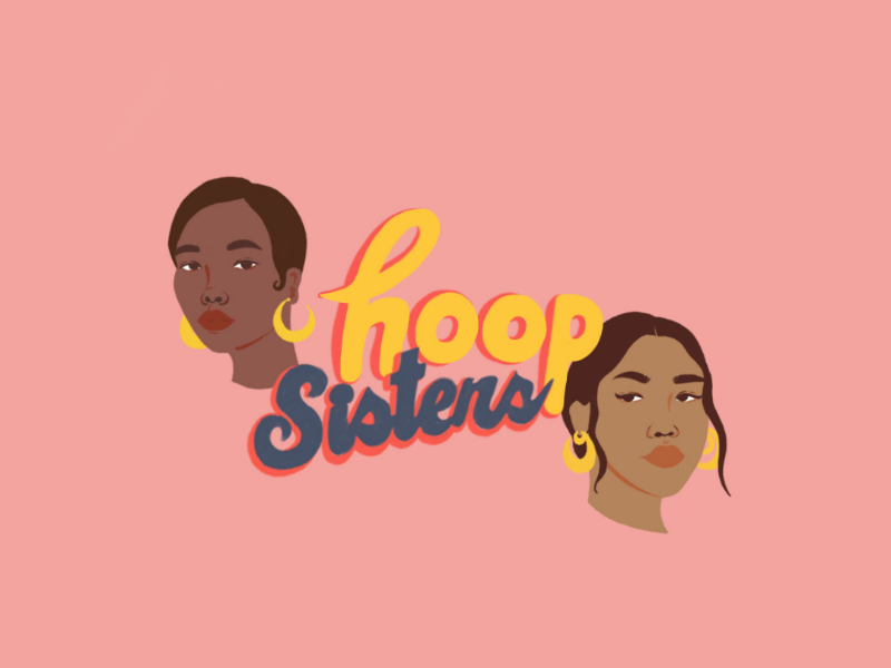 Hoop Sisters hoops representation draw illustration typography type pink women