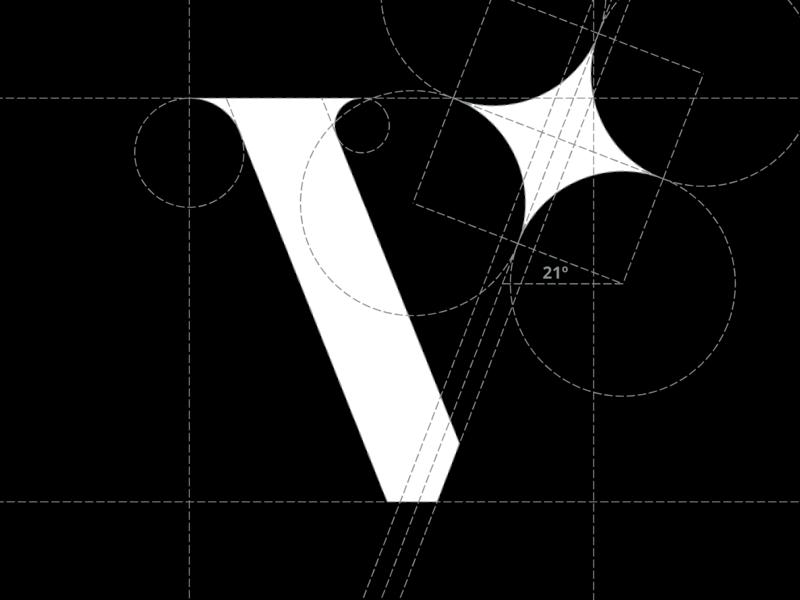 V logomark logogrid grid star v logomark logo