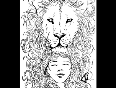 Lion and girl