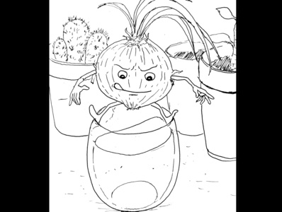 Onion escape fantasy art ink drawing sketch daily sketch drawing