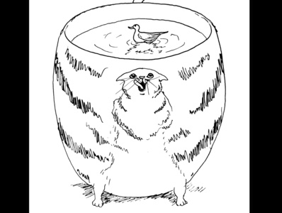 Cat cup fantasy art ink drawing sketch daily sketch drawing