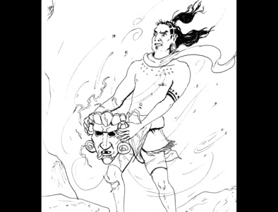 Mask of power fantasy art illustration fantasy art ink drawing sketch daily sketch drawing