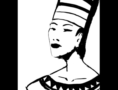 Egyptian lady fantasy art ink drawing sketch daily sketch drawing