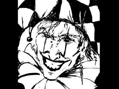 Harlequin fantasy art ink drawing sketch daily sketch drawing