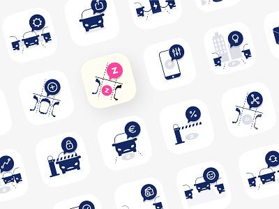 Zenpark icons icon design web agency illustration digital art direction webdesig icon set icons
