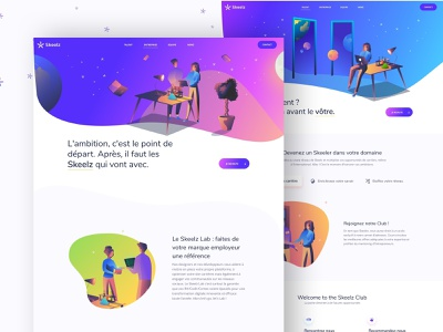 Skeelz-pages vector ui art draw ux illustration uidesign paris agence ui