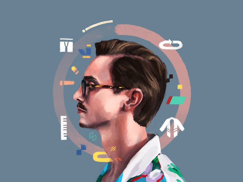 Marc Rebillet streamer person people portrait painting portraits side profile ipad digital portrait illustration procreate loop marc marc rebillet music stream portrait