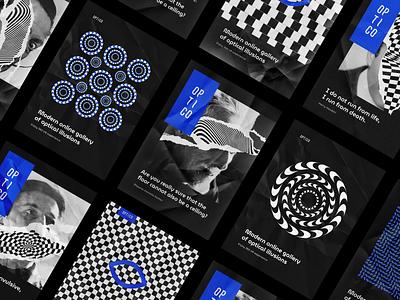 👁Optico  •  Posters illusion poligraphy identity poster logo vector branding illustration typography design