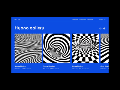 👁Optico  •  Gallery page illusion gallery interaction typography animation website web ux ui design