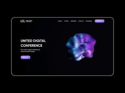 UDC - Website colorful landing 3d conference branding animation website web ux ui design