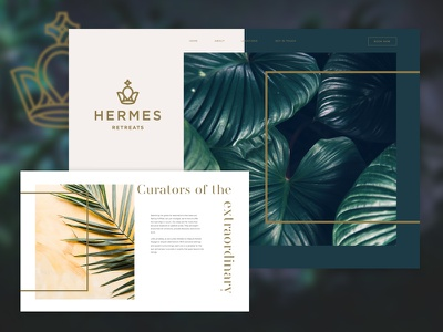 Hermes Retreats + Hello Dribbble! hermes design photoshop sketch ui web