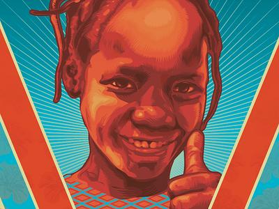 "détail poster ""BARKA"" 2018 smile girl portrait face texture designer affinity vectordrawing"