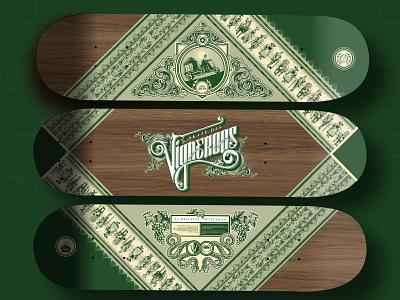 Skate des Vignerons frames branding calligraphy ornement lettering tradition fevi wine label illustration skate