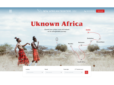 Southern Africa Safari Style tours booking africa travel typography web landing page style service ux concept design ui