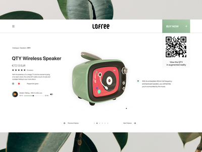 Daily_012 speaker clean retro augmented reality ar music online store ecommerce web dailyui style ux concept design ui