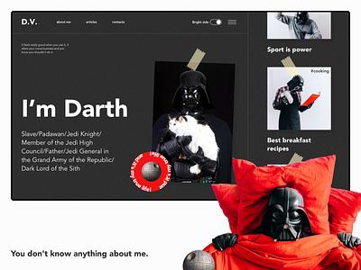 Darth Vader personal blog landing page blog personal website starwars dark mode typography website web service ux concept design ui