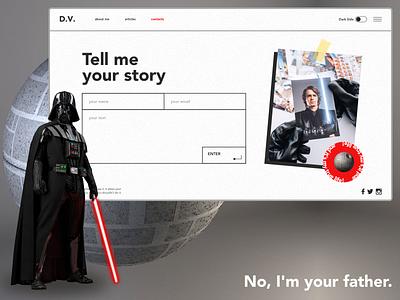Darth Vader personal blog star wars darthvader website blog personal page web contacts service ux concept design ui