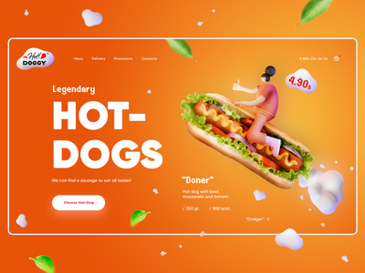 Hot-Dogs shop ecommerce hot dog delivery food landing page landing webdesign website web illustration service ux concept design ui