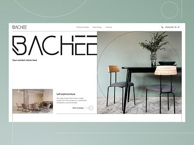 Bachee Loft furniture studio minimal webdesign typography landing page website studio furniture loft branding style service concept design ui