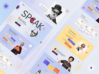 Speak - English school (concept) website landing language course school education style ux concept design ui