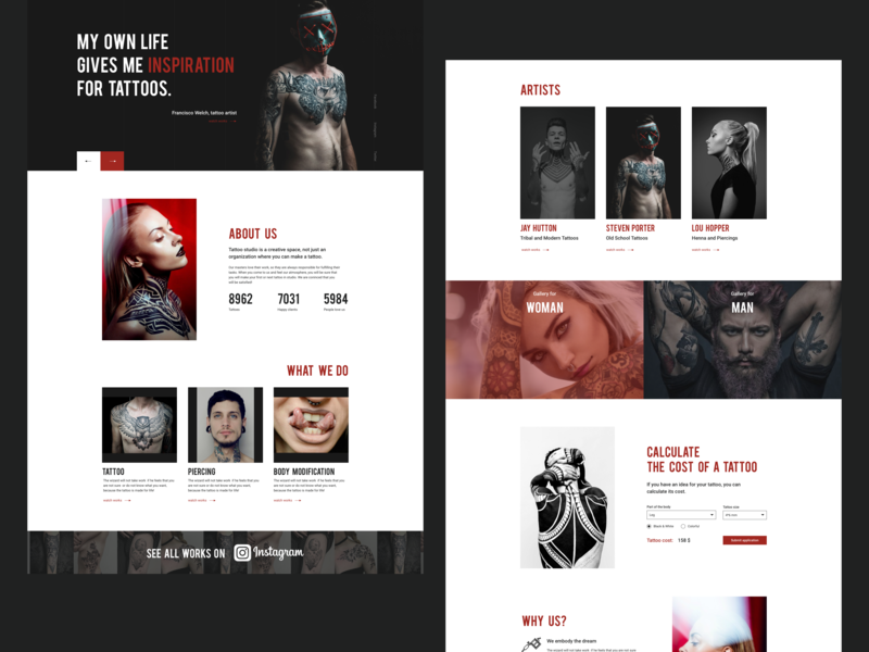 tattoo web site interace page personal web ux-design ui service brand landing page website webdesig studio tattoo design create concept black art about us