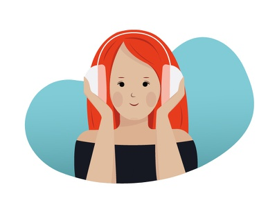 Girl with headset gradient headphone earphone headset song music cute woman girl