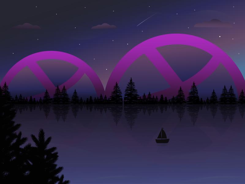 2 Dribbble Invites galaxy night mountains water firs landscape two invitation invites invite dribbble