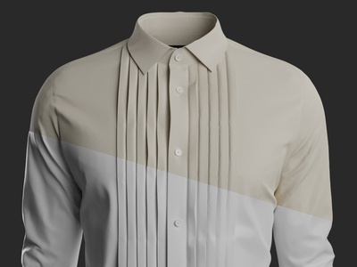 3D - Pleated Spread Collar Shirt