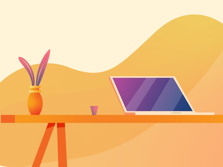 Laptop Scene scene laptop table illustration flat