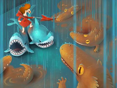 Mud puddle alligators childrenss art photoshop illustration digital art