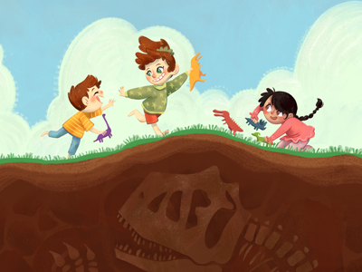 Playing with dinosaurs dinosaurs photoshop childrens art illustration digital art
