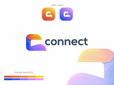 C connect brand graphic identity technology icon illustrator creative symbol c letter logo app icon set c logo