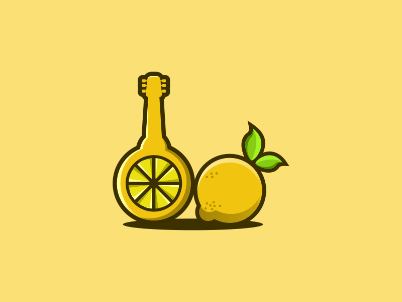 Lemon Guitar tshirt technology photoshop logo illustrator identity icon graphic gardening creative  design brand