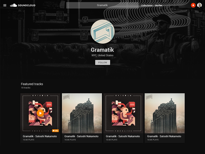 Soundcloud Material Redesign - Profile page WIP gramatik profile wip ui material soundcloud