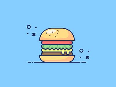 Burger flat design branding icons design illustration yellow logo sticker icon flat vector