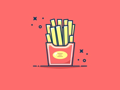 Yummy Fried potatoes!! clear sticker illustration red icon flat vector