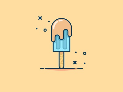 Ice cream with chocolate Background ice illustration yellow logo sticker icon flat vector