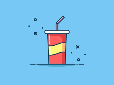 Fast food Drink with background! fastfood sticker logo illustration blue drink flat icon vector